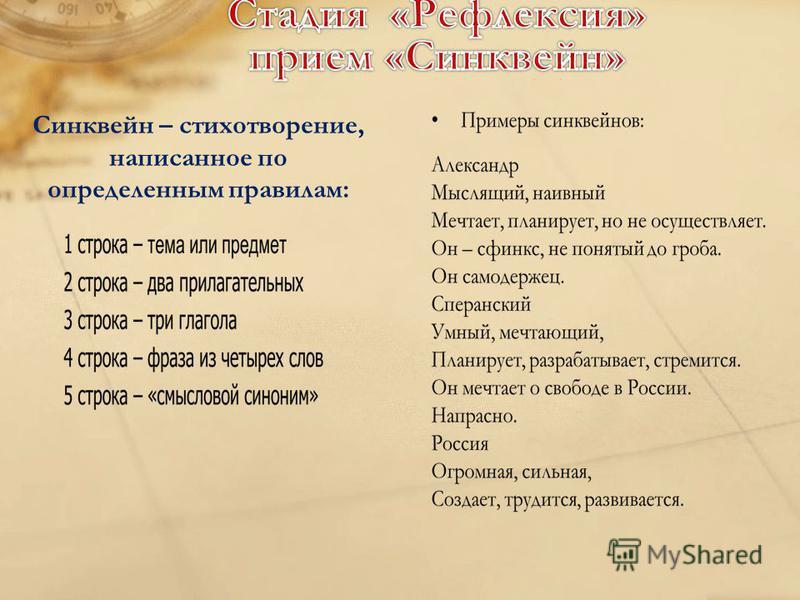 Синквейн – стихотворение, написанное по определенным правилам: