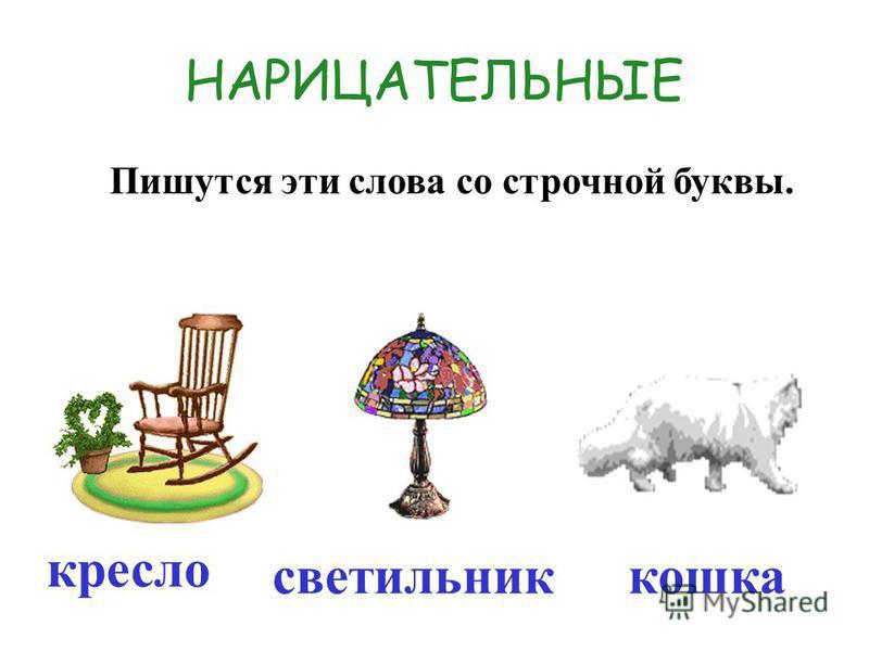 Русский язык Русское слово «нарицательный» образовалось от старославянского слова нарицати – называть.