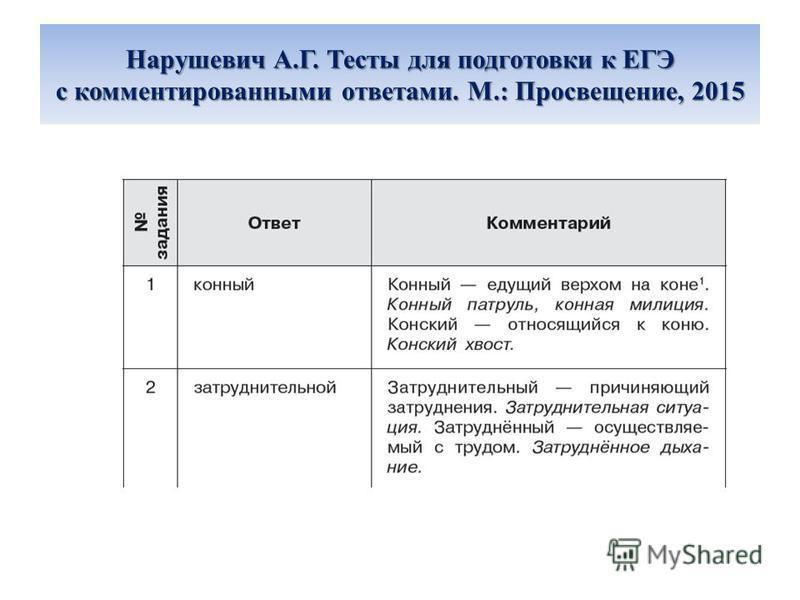 Нарушевич А.Г. Тесты для подготовки к ЕГЭ с комментированными ответами. М.: Просвещение, 2015