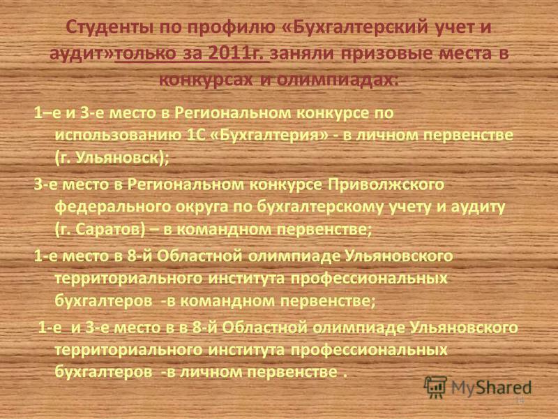 Студенты по профилю «Бухгалтерский учет и аудит»только за 2011 г. заняли призовые места в конкурсах и олимпиадах: 1–е и 3-е место в Региональном конкурсе по использованию 1С «Бухгалтерия» - в личном первенстве (г. Ульяновск); 3-е место в Региональном