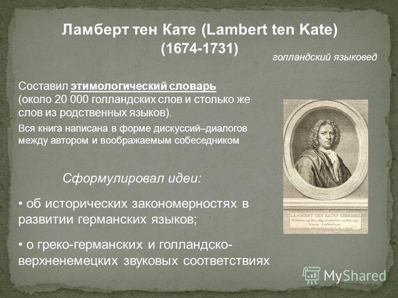 Ламберт тен Кате (Lambert ten Kate) (1674-1731) голландский языковед Составил этимологический словарь (около 20 000 голландских слов и столько же слов из родственных языков). Вся книга написана в форме дискуссий–диалогов между автором и воображаемым