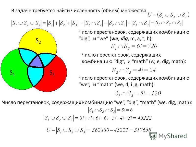 В задаче требуется найти численность (объем) множества S1S1 S2S2 S3S3 Число перестановок, содержащих комбинацию dig, и we (we, dig, m, a, t, h): Число перестановок, содержащих комбинацию dig, и math (w, e, dig, math): Число перестановок, содержащих к