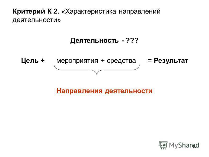 40 Критерий К 2. «Характеристика направлений деятельности» Деятельность - ??? Цель + мероприятия + средства = Результат Направления деятельности