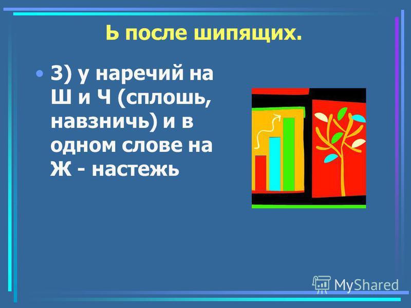 Ь после шипящих. 3) у наречьий на Ш и Ч (сплошь, навзничь) и в одном слове на Ж - настежь