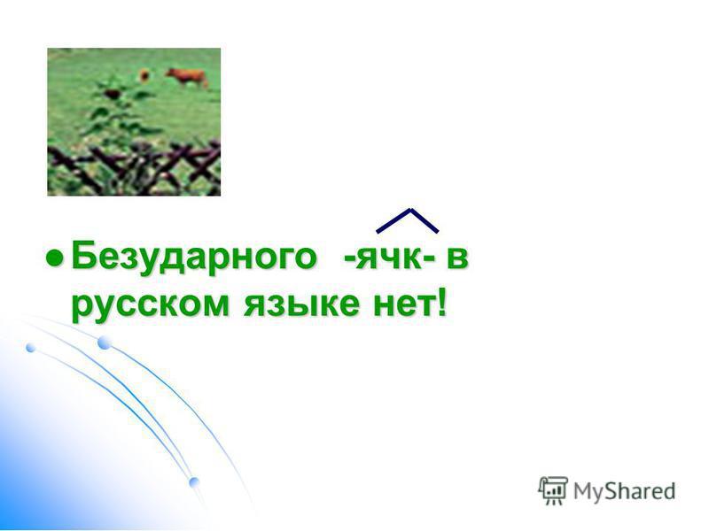 Безударного -ячеек- в русском языке нет! Безударного -ячеек- в русском языке нет!