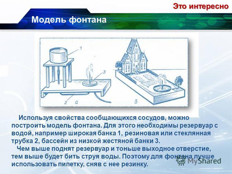 Модель фонтана Это интересно Используя свойства сообщающихся сосудов, можно построить модель фонтана. Для этого необходимы резервуар с водой, например широкая банка 1, резиновая или стеклянная трубка 2, бассейн из низкой жестяной банки 3. Чем выше по