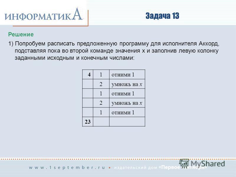 Задача 13 Решение 1) Попробуем расписать предложенную программу для исполнителя Аккорд, подставляя пока во второй команде значения x и заполнив левую колонку заданными исходным и конечным числами: 41 отними 1 2 умножь на x 1 отними 1 2 умножь на x 1