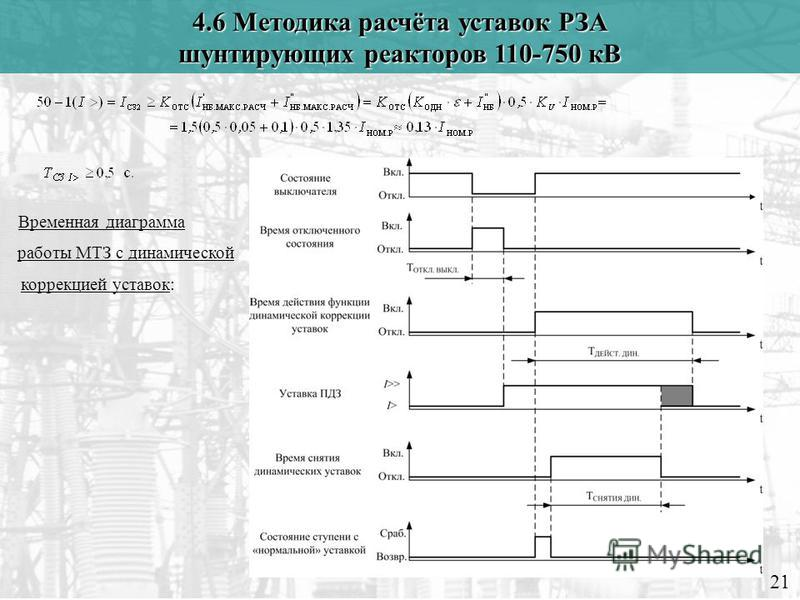 21 4.6 Методика расчёта уставок РЗА шунтирующих реакторов 110-750 кВ Временная диаграмма работы МТЗ с динамической коррекцией уставок: