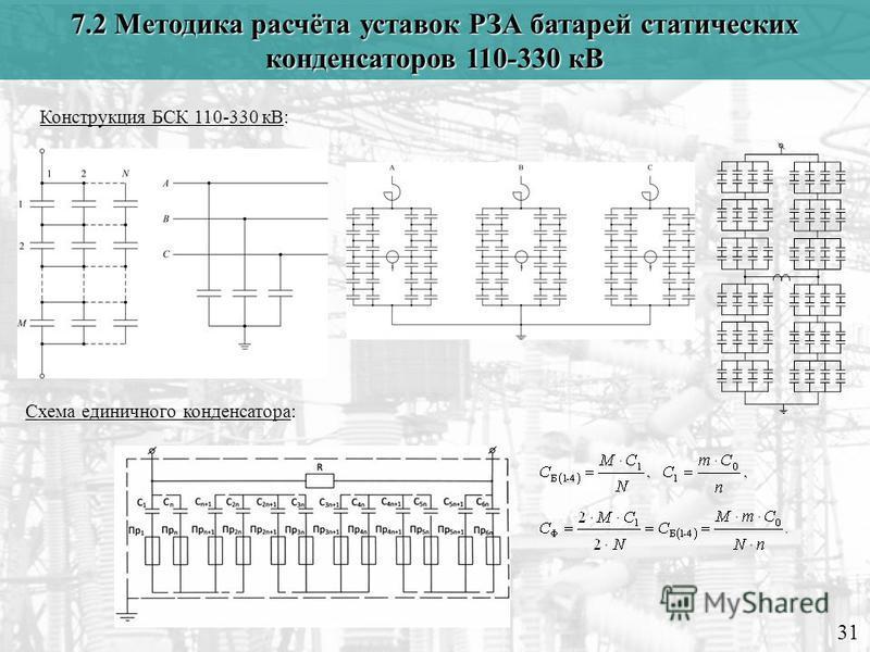 7.2 Методика расчёта уставок РЗА батарей статических конденсаторов 110-330 кВ 31 Конструкция БСК 110-330 кВ: Схема единичного конденсатора: