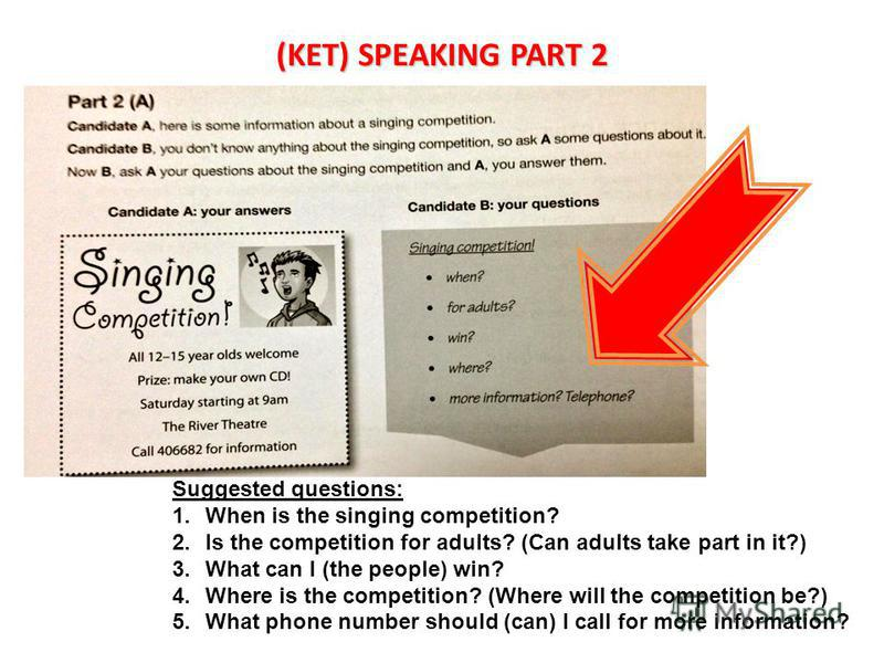 (KET) SPEAKING PART 2 Suggested questions: 1. When is the singing competition? 2. Is the competition for adults? (Can adults take part in it?) 3. What can I (the people) win? 4. Where is the competition? (Where will the competition be?) 5. What phone