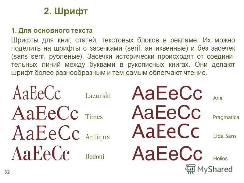 32 1. Для основного текста Шрифты для книг, статей, текстовых блоков в рекламе. Их можно поделить на шрифты с засечками (serif, антикварные) и без засечек (sans serif, рубленые). Засечки исторически происходят от соедини- тельных линий между буквами