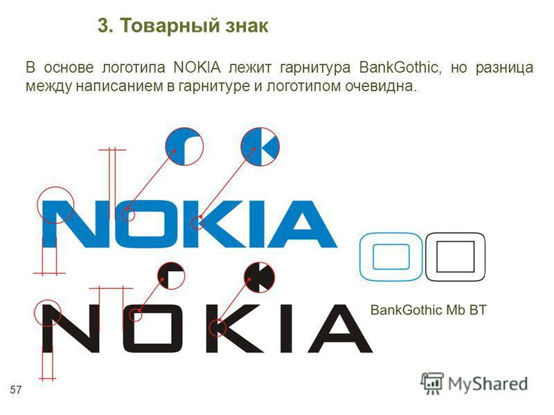 57 В основе логотипа NOKIA лежит гарнитура BankGothic, но разница между написанием в гарнитуре и логотипом очевидна. 3. Товарный знак