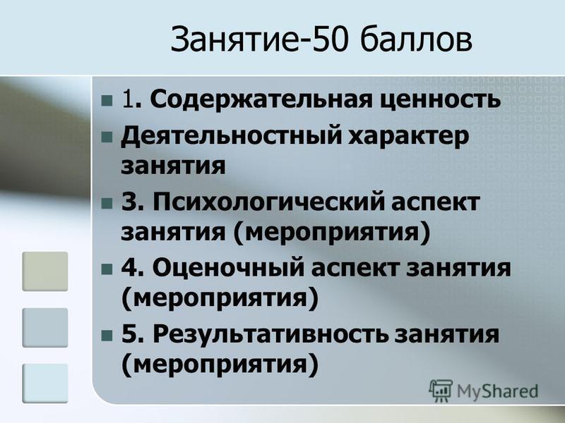 Занятие-50 баллов 1. Содержательная ценность Деятельностный характер занятия 3. Психологический аспект занятия (мероприятия) 4. Оценочный аспект занятия (мероприятия) 5. Результативность занятия (мероприятия)
