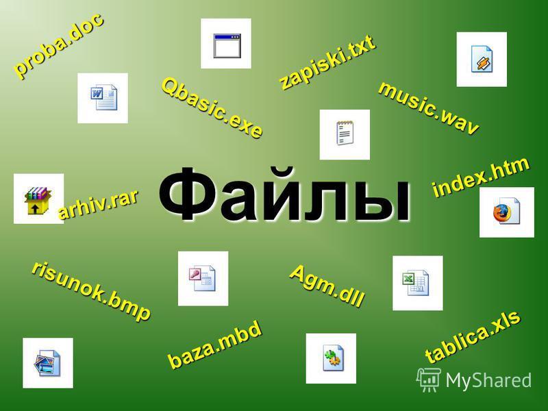 Файлы proba.doc risunok.bmp music.wav tablica.xls baza.mbd Qbasic.exe arhiv.rar index.htm zapiski.txt Agm.dll