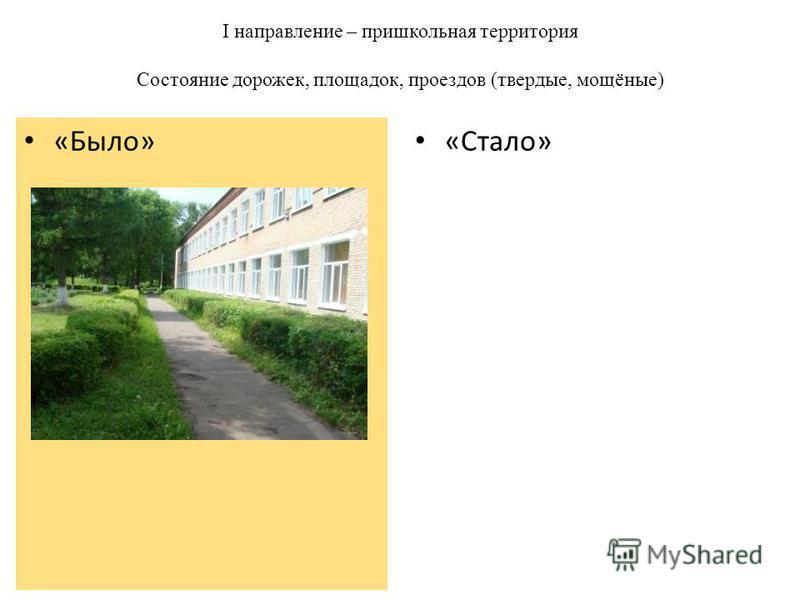 I направление – пришкольная территория Состояние дорожек, площадок, проездов (твердые, мощёные) «Стало» «Было»