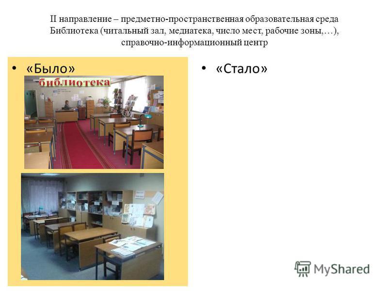 II направление – предметно-пространственная образовательная среда Библиотека (читальный зал, медиатека, число мест, рабочие зоны,…), справочно-информационный центр «Стало» «Было»