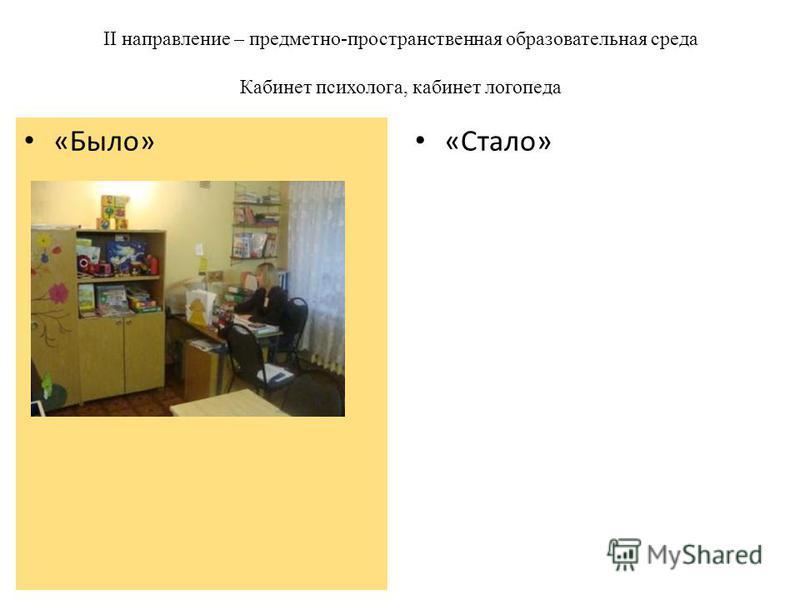 II направление – предметно-пространственная образовательная среда Кабинет психолога, кабинет логопеда «Стало» «Было»