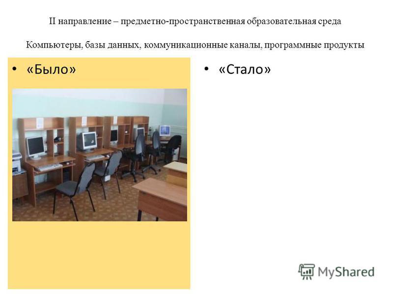 II направление – предметно-пространственная образовательная среда Компьютеры, базы данных, коммуникационные каналы, программные продукты «Стало» «Было»