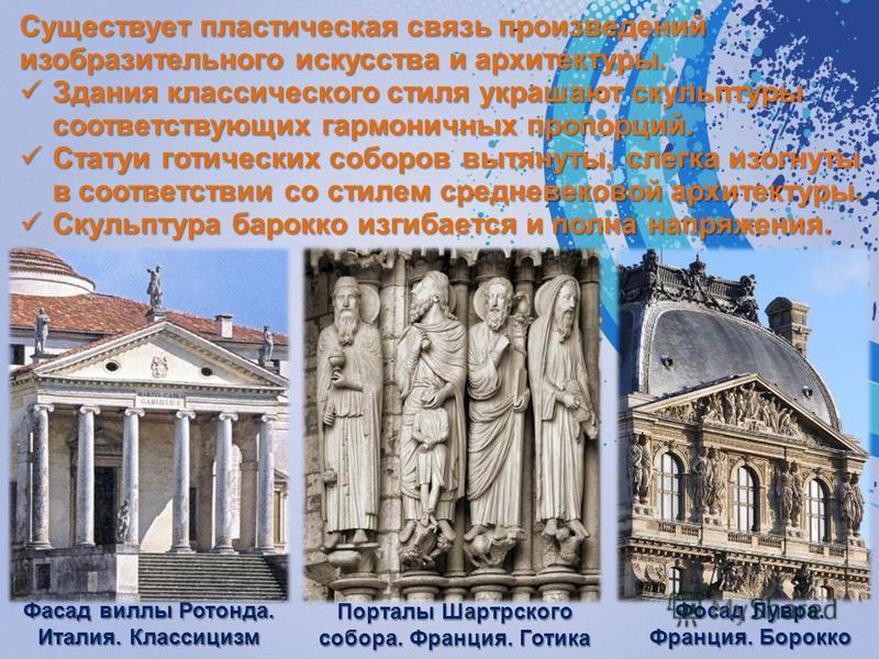 Существует пластическая связь произведений изобразительного искусства и архитектуры. Здания классического стиля украшают скульптуры соответствующих гармоничных пропорций. Здания классического стиля украшают скульптуры соответствующих гармоничных п