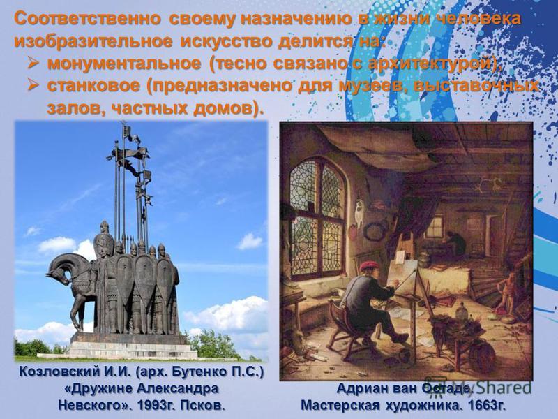Соответственно своему назначению в жизни человека изобразительное искусство делится на: монументальное (тесно связано с архитектурой), монументальное (тесно связано с архитектурой), станковое (предназначено для музеев, выставочных залов, частных до