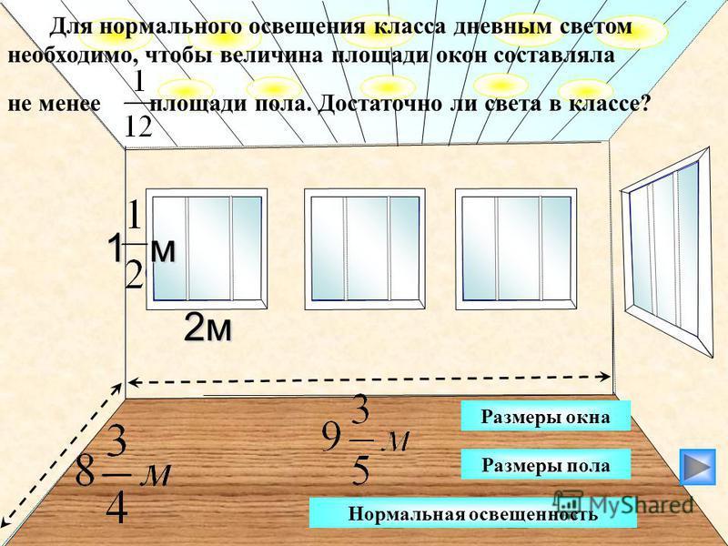 3 м 2 м Для нормального освещения класса дневным светом необходимо, чтобы величина площади окон составляла не менее площади пола. Достаточно ли света в классе? 1 м Нормальная освещенность Размеры пола Размеры окна