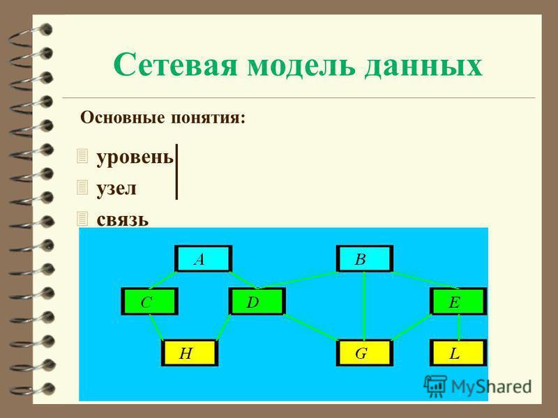 Сетевая модель данных 3 уровень 3 узел 3 связь Основные понятия: