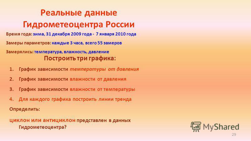 29 Реальные данные Гидрометеоцентра России Построить три графика: 1. График зависимости температуры от давления 2. График зависимости влажности от давления 3. График зависимости влажности от температуры 4. Для каждого графика построить линии тренда О