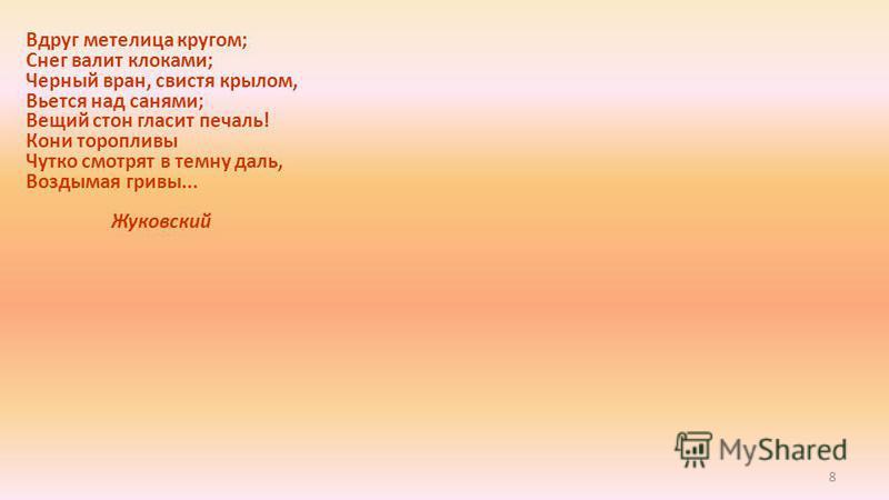 8 Вдруг метелица кругом; Снег валит клоками; Черный вран, свистя крылом, Вьется над санями; Вещий стон гласит печаль! Кони торопливы Чутко смотрят в темну даль, Воздымая гривы... Жуковский