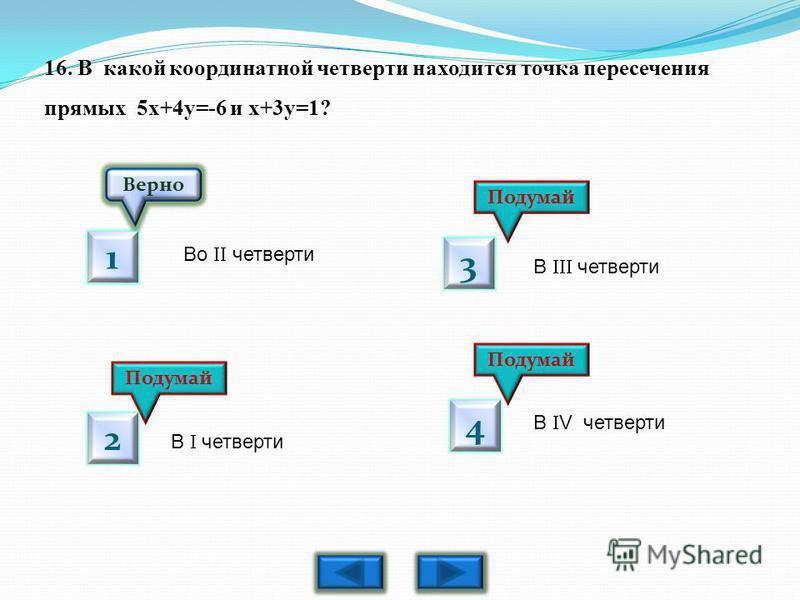 16. В какой координатной четверти находится точка пересечения прямых 5 х+4 у=-6 и х+3 у=1? Верно Подумай 1 2 3 4 Во четверти В четверти В V четверти