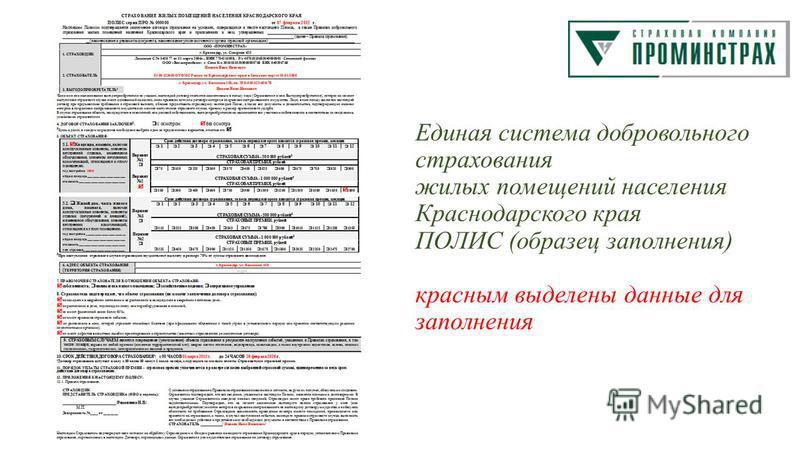 Единая система добровольного страхования жилых помещений населения Краснодарского края ПОЛИС (образец заполнения) красным выделены данные для заполнения