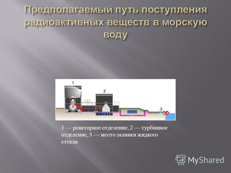 1 реакторное отделение, 2 турбинное отделение, 3 место заливки жидкого стекла