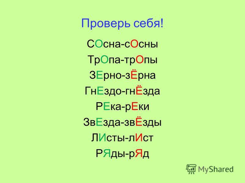 Проверь себя! СОсна-с Осны Тр Опа-тр Опы ЗЕрено-зЁрна Гн Ездо-гнЁзда РЕка-р Еки Зв Езда-звЁзды ЛИсты-л Ист РЯды-р Яд