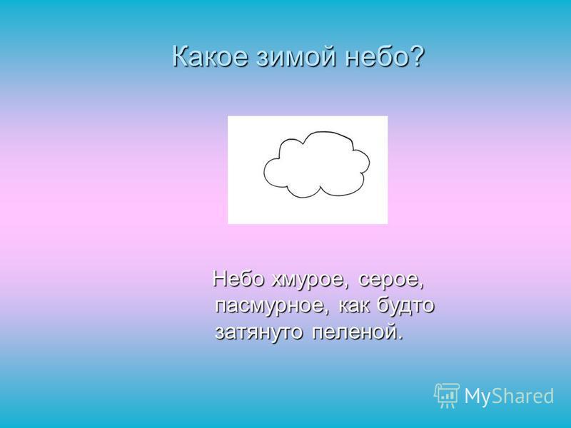 Какое зимой небо? Небо хмурое, серое, пасмурное, как будто затянуто пеленой. Небо хмурое, серое, пасмурное, как будто затянуто пеленой.