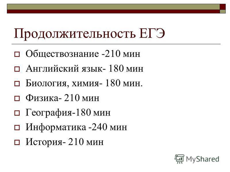 Продолжительность ЕГЭ Обществознание -210 мин Английский язык- 180 мин Биология, химия- 180 мин. Физика- 210 мин География-180 мин Информатика -240 мин История- 210 мин
