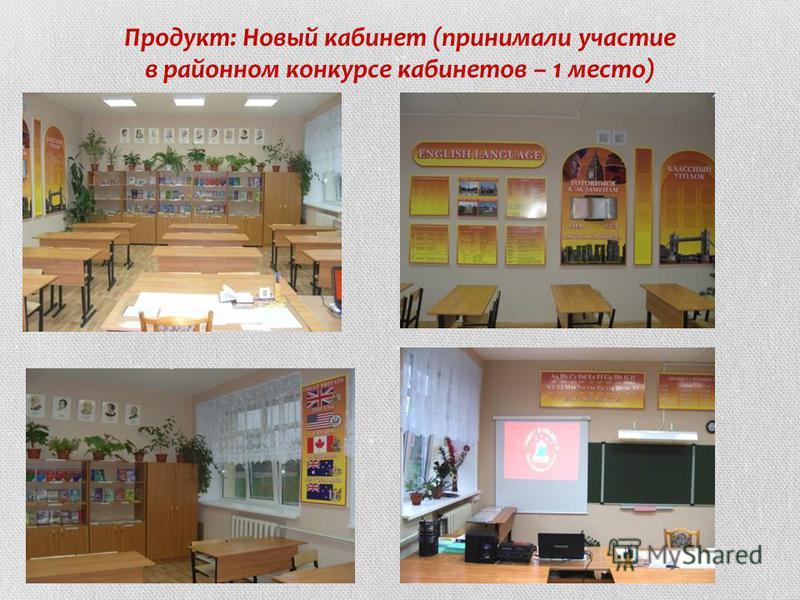 Продукт: Новый кабинет (принимали участие в районном конкурсе кабинетов – 1 место)
