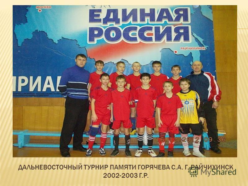 ДАЛЬНЕВОСТОЧНЫЙ ТУРНИР ПАМЯТИ ГОРЯЧЕВА С.А. Г. РАЙЧИХИНСК 2002-2003 Г.Р.