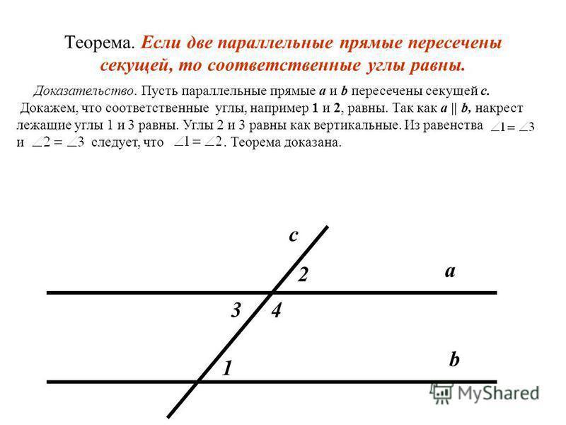Теорема. Если две параллельные прямые пересечены секущей, то накрест лежащие углы равны. Доказательство. Пусть параллельные прямые a и b пересечены секущей MN. Докажем, что накрест лежащие углы, например 1 и 2, равны. Допустим, что углы 1 и 2 не равн