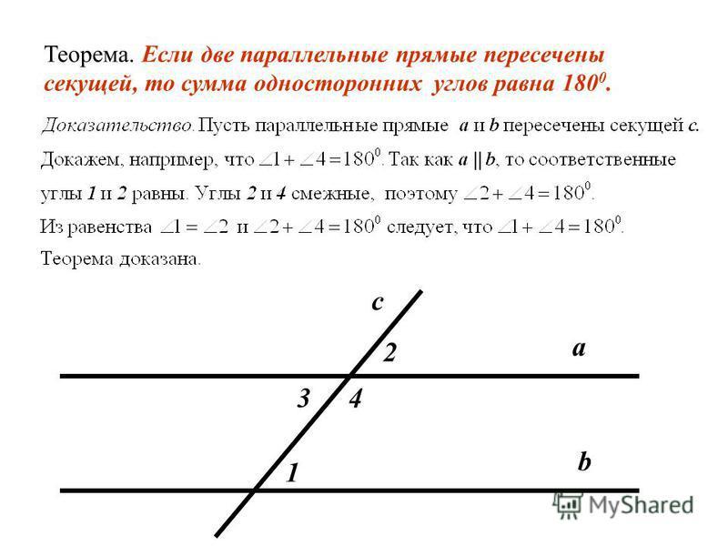 Теорема. Если две параллельные прямые пересечены секущей, то соответственные углы равны. Доказательство. Пусть параллельные прямые a и b пересечены секущей с. Докажем, что соответственные углы, например 1 и 2, равны. Так как a || b, накрест лежащие у