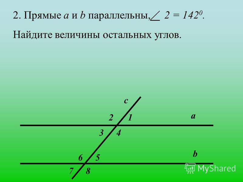1)Прямые а и b параллельны, 5 = 40 0. Какие еще углы равны 40 0 ? b 5 а с 1 43 2 6 87