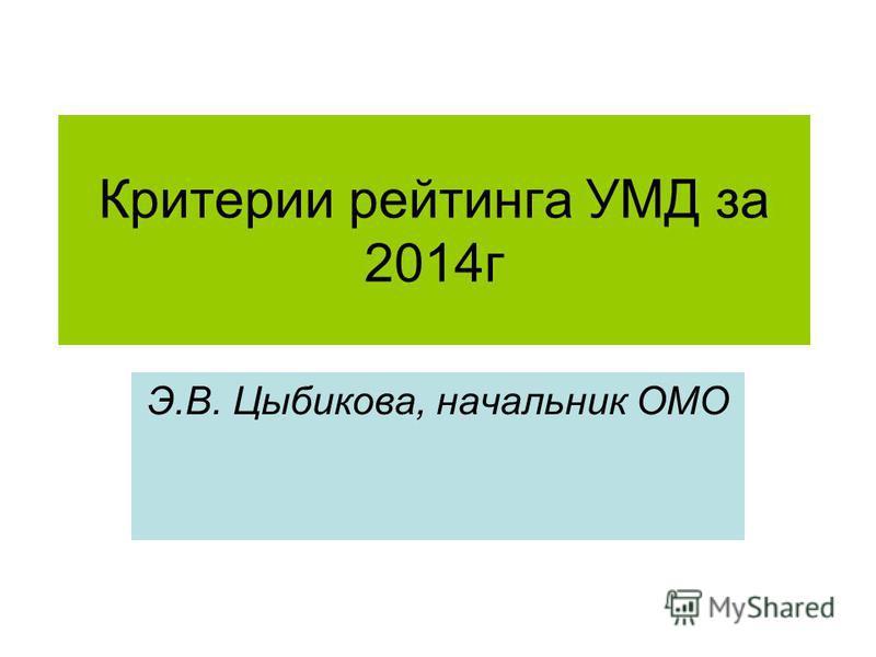 Критерии рейтинга УМД за 2014 г Э.В. Цыбикова, начальник ОМО