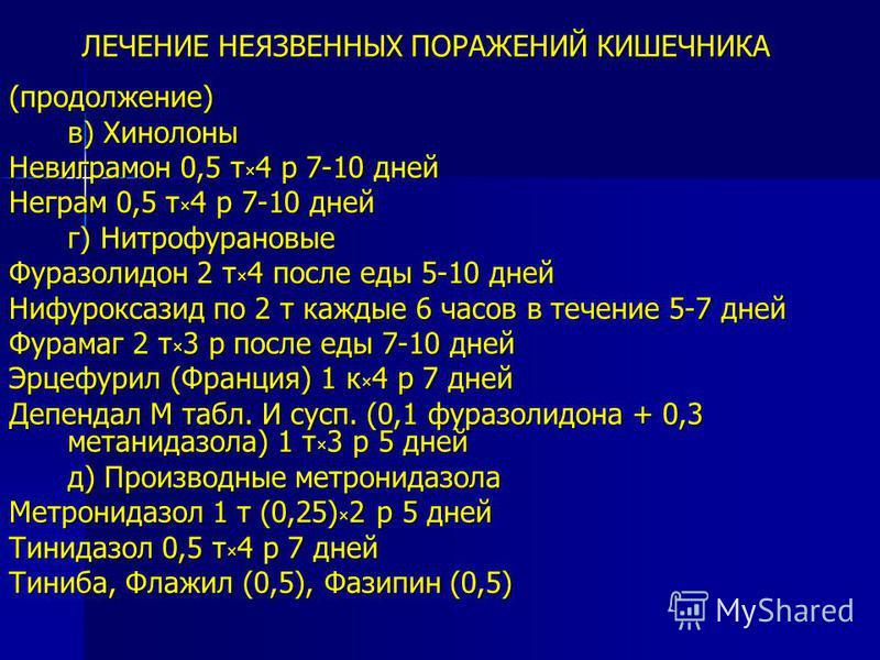 ЛЕЧЕНИЕ НЕЯЗВЕННЫХ ПОРАЖЕНИЙ КИШЕЧНИКА (продолжение) в) Хинолоны Невиграмон 0,5 т × 4 р 7-10 дней Неграм 0,5 т × 4 р 7-10 дней г) Нитрофурановые Фуразолидон 2 т × 4 после еды 5-10 дней Нифуроксазид по 2 т каждые 6 часов в течение 5-7 дней Фурамаг 2 т