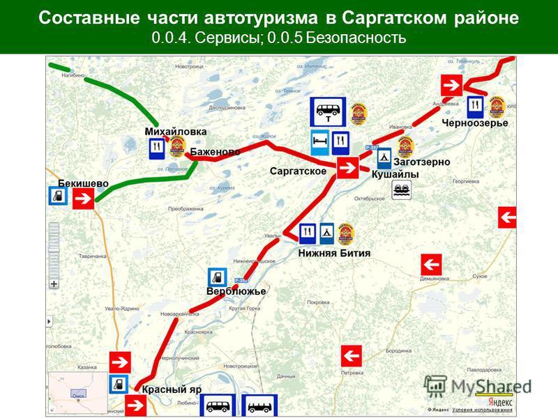Составные части автотуризма в Саргатском районе 0.0.4. Сервисы; 0.0.5 Безопасность
