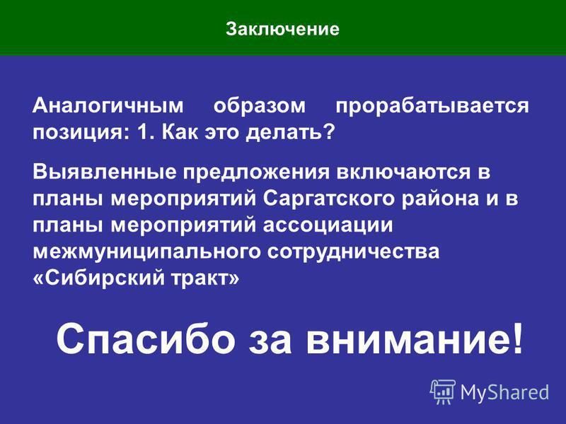 Заключение Аналогичным образом прорабатывается позиция: 1. Как это делать? Выявленные предложения включаются в планы мероприятий Саргатского района и в планы мероприятий ассоциации межмуниципального сотрудничества «Сибирский тракт» Спасибо за внимани