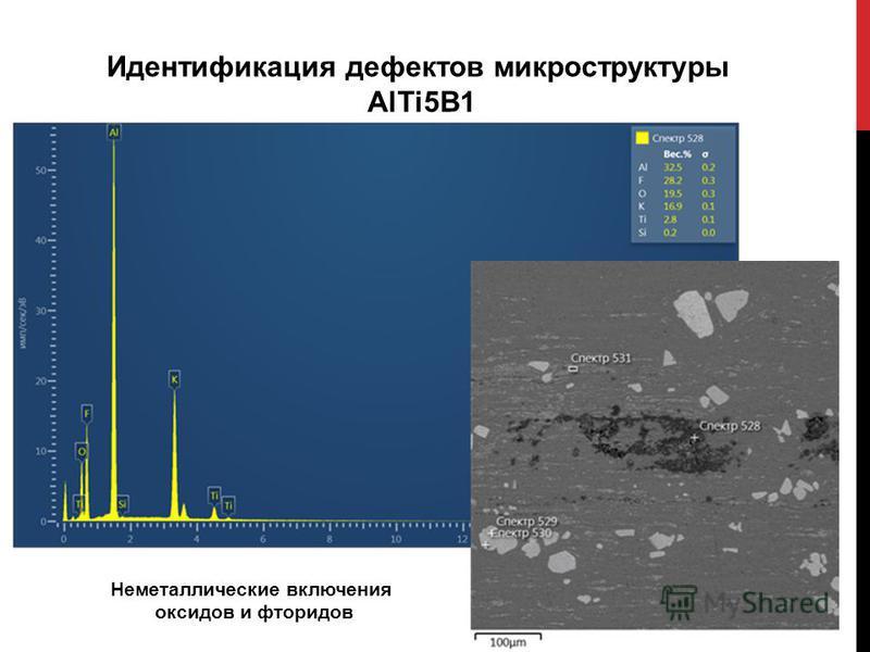 Идентификация дефектов микроструктуры AlTi5B1 Неметаллические включения оксидов и фторидов