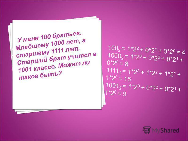У меня 100 братьев. Младшему 1000 лет, а старшему 1111 лет. Старший брат учится в 1001 классе. Может ли такое быть? У У меня 100 братьев. Младшему 1000 лет, а старшему 1111 лет. Старший брат учится в 1001 классе. Может ли такое быть? 100 2 = 1*2 2 +