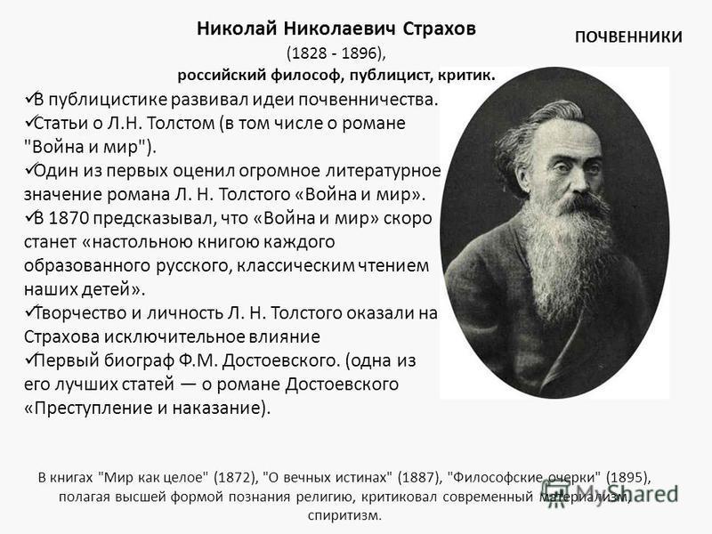 Николай Николаевич Страхов (1828 - 1896), российский философ, публицист, критик. В публицистике развивал идеи почвенничества. Статьи о Л.Н. Толстом (в том числе о романе