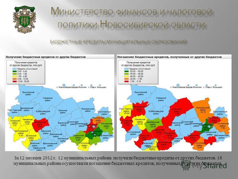 За 12 месяцев 2012 г. 12 муниципальных района получили бюджетные кредиты от других бюджетов. 18 муниципальных района осуществили погашение бюджетных кредитов, полученных от других бюджетов.