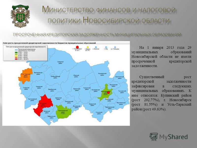 На 1 января 2013 года 29 муниципальных образований Новосибирской области не имели просроченной кредиторской задолженности. Существенный рост кредиторской задолженности зафиксирован в следующих муниципальных образованиях. К ним относятся : Купинский р