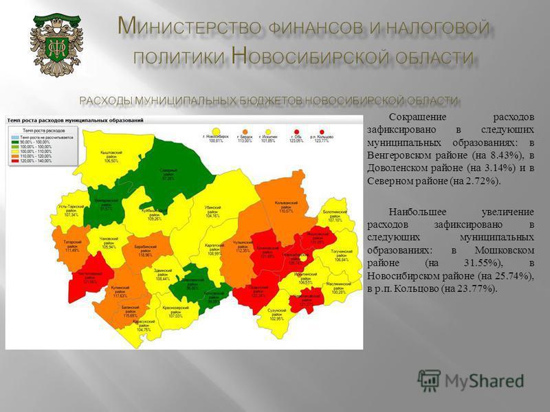 Сокращение расходов зафиксировано в следующих муниципальных образованиях : в Венгеровском районе ( на 8.43%), в Доволенском районе ( на 3.14%) и в Северном районе ( на 2.72%). Наибольшее увеличение расходов зафиксировано в следующих муниципальных обр