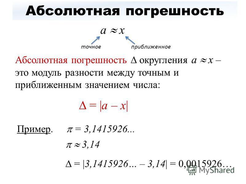Абсолютная погрешность а х Абсолютная погрешность округления а х – это модуль разности между точным и приближенным значением числа: = |а – х| точное приближенное Пример. = 3,1415926... 3,14 = |3,1415926… – 3,14| = 0,0015926…